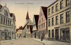Postcard Burgsteinfurt, Blick in die Steinstraße, H. Heymann, Passanten, Kirchturm