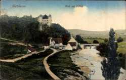 Postcard Mühlheim am Main im Kreis Offenbach, Blick auf das Schloss, Flusspartie