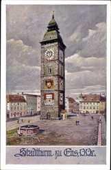 Ak Enns Oberösterreich, Blick auf den Stadtturm, Dt. Schulverein Nr. 863