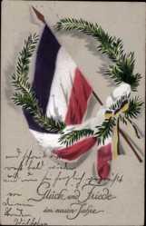 Postcard Glückwunsch Neujahr, Patriotik, Fahne, Tannenzweig, Kaiserreich