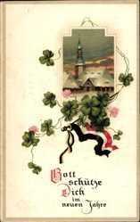 Postcard Glückwunsch Neujahr, Fahne, Kleeblätter, Kaiserreich