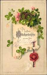 Präge Ak Glückwunsch Neujahr, Kleeblätter, Hufeisen, Siegel