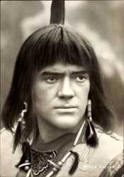 Postcard SchauspielerMinja Vojvodic, DEFA, Tecumseh, Portrait als Indianer