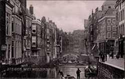 Postcard Rotterdam Südholland Niederlande, Steiger met Weezenbrug, Kanal
