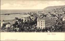Ak Sanremo Ligurien Italien, Blick auf den Ort, Meerpartie, Häuser, Berg
