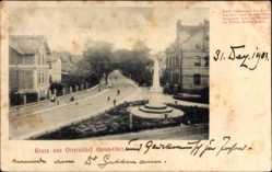 Postcard Otterndorf im Kreis Cuxhaven, Straßenpartie mit Denkmal