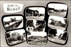 Postcard Niebüll in Nordfriesland, Noldemuseum, Kreishaus, Kirche, Hauptstraße