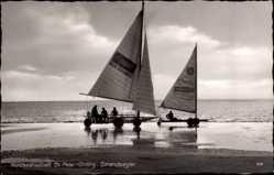 Postcard Sankt Peter Ording in Nordfriesland, Ansicht von Strandseglern