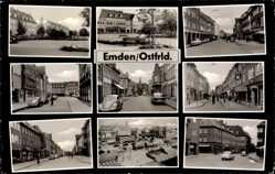 Postcard Emden in Ostfriesland, Schule, Innenstadt, Kirchturm