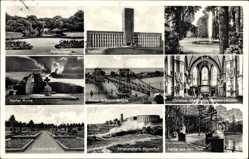 Postcard Wilhelmshaven, Parkanlagen, Rathaus, Bebel Allee, Banter Ruine, Strandhalle