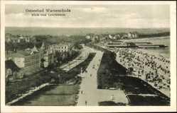 Postcard Rostock Warnemünde, Blick vom Leuchtturm auf Strandpromenade