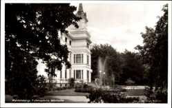 Postcard Mölnlycke Schweden, Wendelsbergs Folkhögskola, Garten