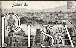 Buchstaben Ak Pisa Toscana, Gesamtansicht der Stadt, Schiefer Turm