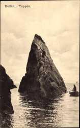 Postcard Kullen Schweden, Toppen, Partie am Meer, Felsen, Kanu