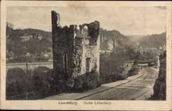 Postcard Luxemburg, Vue générale de la ruine Lützelburg et l'environ