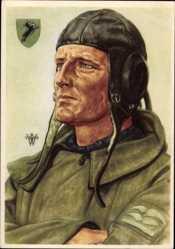 Künstler Ak Willrich, Wolfgang, Stukaflieger, Luftwaffe, Pilotenkappe