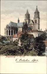 Postcard Magdeburg in Sachsen Anhalt, Blick auf den Ort und den Dom