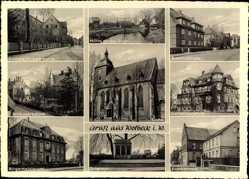 Postcard Wolbeck Münster in Westfalen, Bahnhofstraße, Kirche, Schloss, Krankenhaus