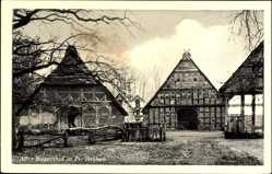 Postcard Preußisch Ströhen Rahden in Ostwestfalen Lippe, Alter Bauernhof, Reetdach