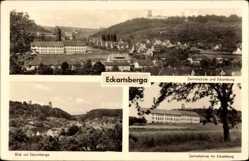 Postcard Eckartsberga an der Finne im Burgenlandkreis, Zentralschule, Burg, Stadt