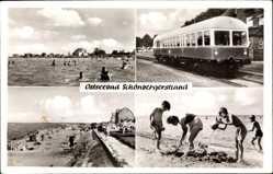 Postcard Schönberger Strand Schönberg, Buddeln, Bahn, schwimmen, Badestrand