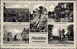 Postcard Ibbenbüren Teutoburger Wald, Teich, Panorama, Kirche, Markt, hockendes Weib