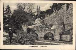 Postcard Luxemburg, Stiérchen, Blick durch die Brückenbögen, Fluss