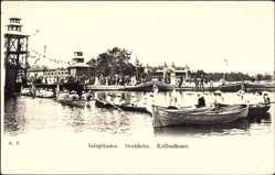 Postcard Saltsjöbaden Schweden, Kallbadhuset, Ruderboote auf dem Wasser