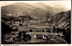 Postcard Beddgelert Wales, Snowdon, Panorama, Ortschaften, Gebirge, Felder