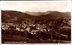 Postcard Llangollen Wales, View of the village from Pen Y Coed, Berge, Fluss