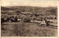 Postcard Llanrwst Wales, Totalansicht der Ortschaft, Felder mit Schafen, Berge