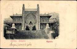 Postcard Alupka Krim Ukraine, Blick auf den Woronzow Palast, Löwenstatuen