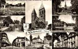 Postcard Gronau im Münsterland Westfalen, Katholische Pfarrkirche, Grenzübergang, Park