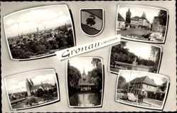 Postcard Gronau im Münsterland Westfalen, Katholische Pfarrkirche, Stadtpark, Rathaus