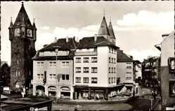 Postcard Gronau im Münsterland Westfalen, Straßenpartie mit Rathausturm