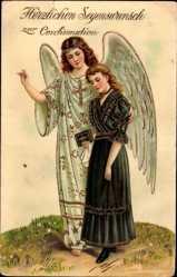 Postcard Glückwunsch Konfirmation, Schutzengel, Junge Frau