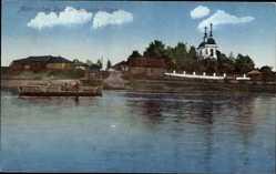 Postcard Litauen, Malerisches Dorf, Flussfähre, Kirchtürme