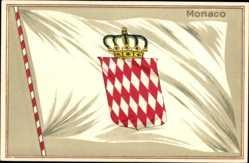 Präge Wappen Litho Monaco, Deo Juvante, Fürstenfamilie Grimaldi