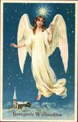 Präge Ak Frohe Weihnachten, Fliegender Engel, Sternenhimmel