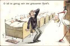 Künstler Ak Scheuermann, W.,Storch bringt Mann Baby, O lass es genug sein, Vater