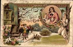 Litho Behüt Dich Gott, Trompeter von Säckingen, Engel