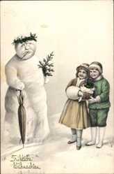Postcard Glückwunsch Weihnachten, Schneemann mit Regenschirm, Kinder