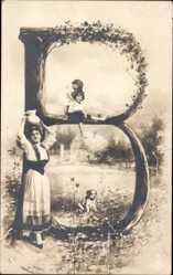 Buchstaben Ak B, Frau, Kinder, Landschaft, Hund, Idyll, NPG 195