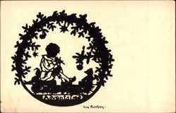 Scherenschnitt Ak Bierling, Junge mit Flöte, Teddybär, Kerze, Advent