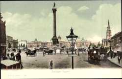 Postcard London City, Trafalgar Square, Denkmal, monument, horse carriages