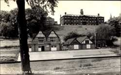 Postcard Shrewsbury West Midlands England, School Boat House and River Severn