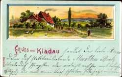 Passepartout Litho Kloda Kladau Schlesien, Wohnhaus, Vögel, Landschaft