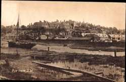 Postcard Rye South East England, View of the village from south west, Segelboot