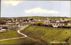 Postcard Cullen Schottland, View of the village from Links, bridge, street
