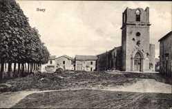 Postcard Buzy Darmont Meuse, Kriegszerstörungen, Ruine, Kirche, Häuser